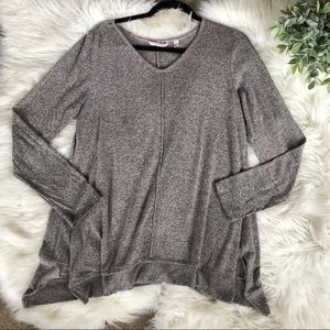 Soft Surroundings Fuzzy V-Neck Drape Sweater Top